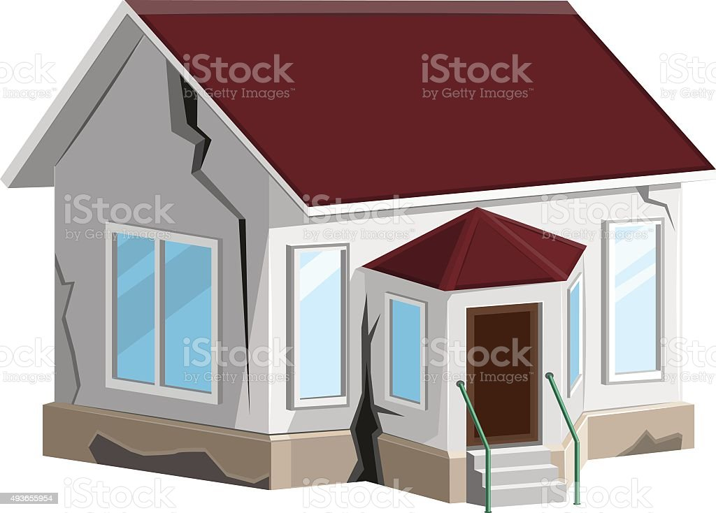 House destroyed. Cracks in walls home. Property insurance. Errors construction vector art illustration