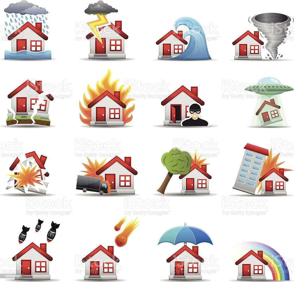 House Disaster - Color Series vector art illustration