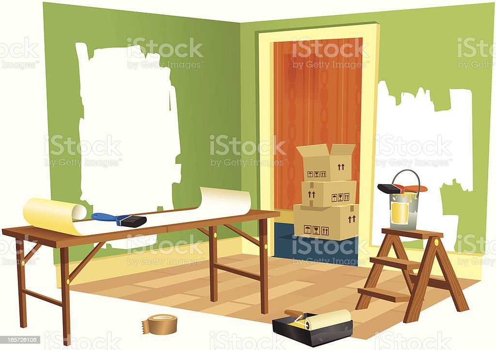 House DIY renovation project royalty-free stock vector art