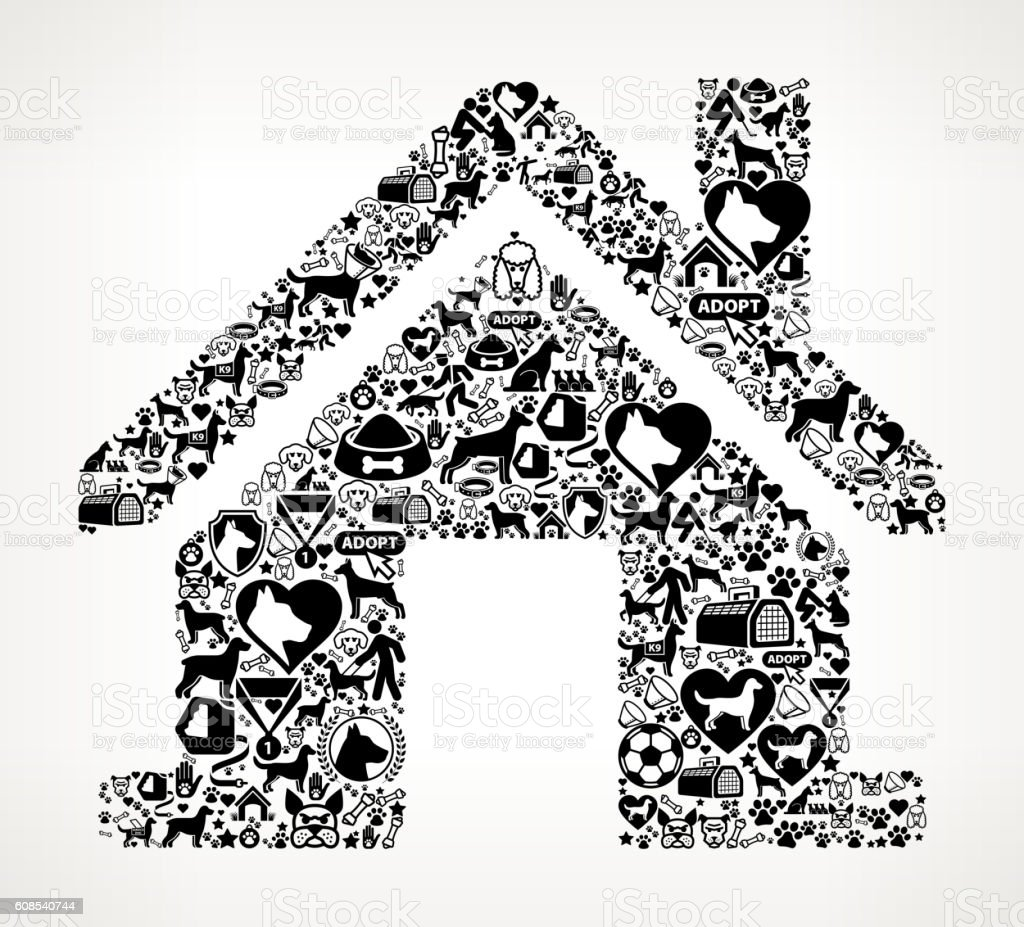House Dog and Canine Pet Black Icon Pattern vector art illustration