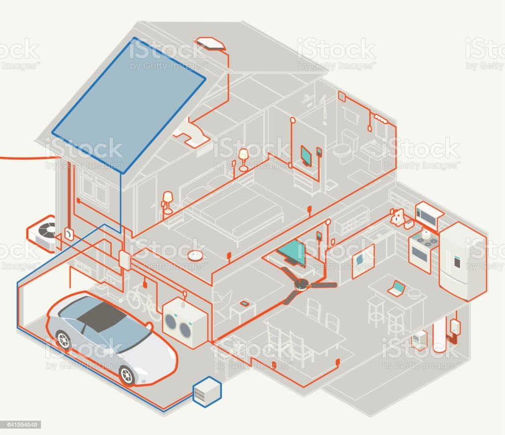 House Electrical Diagram stock vector art 641554546   iStock