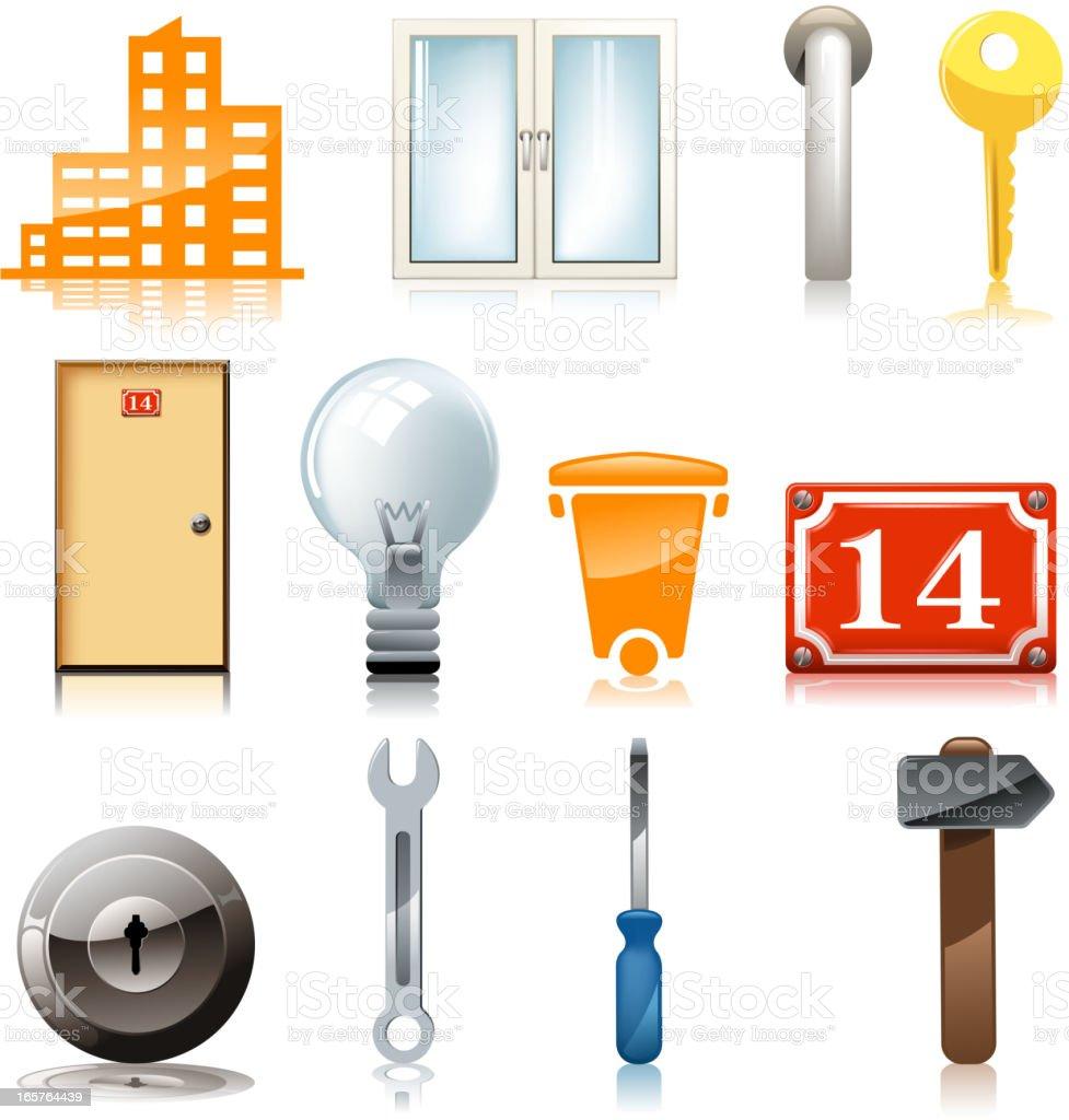 house equipment symbols vector art illustration