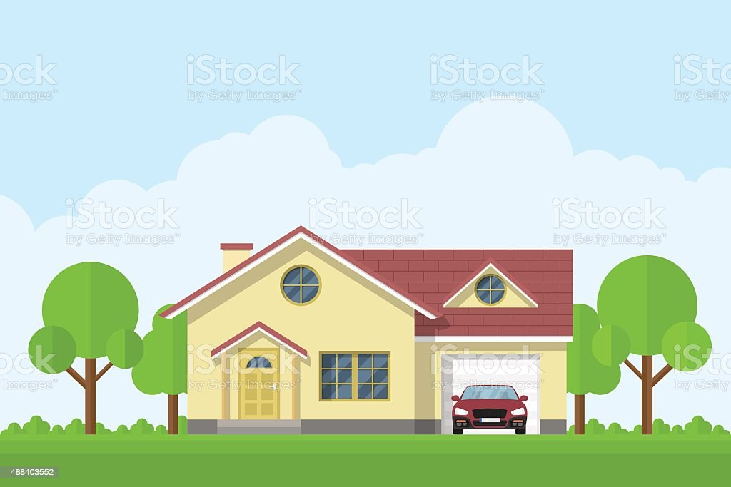 house facade vector art illustration