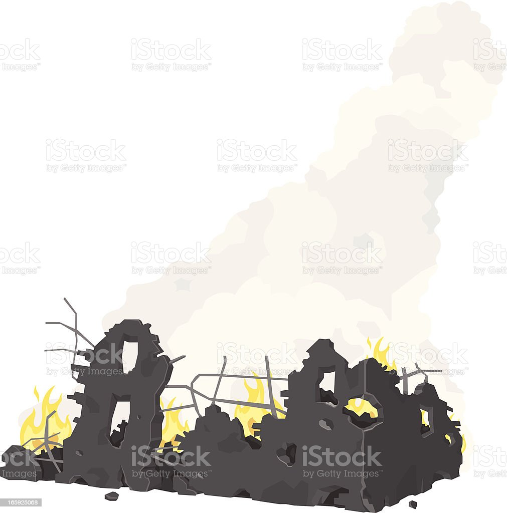 House Fire vector art illustration