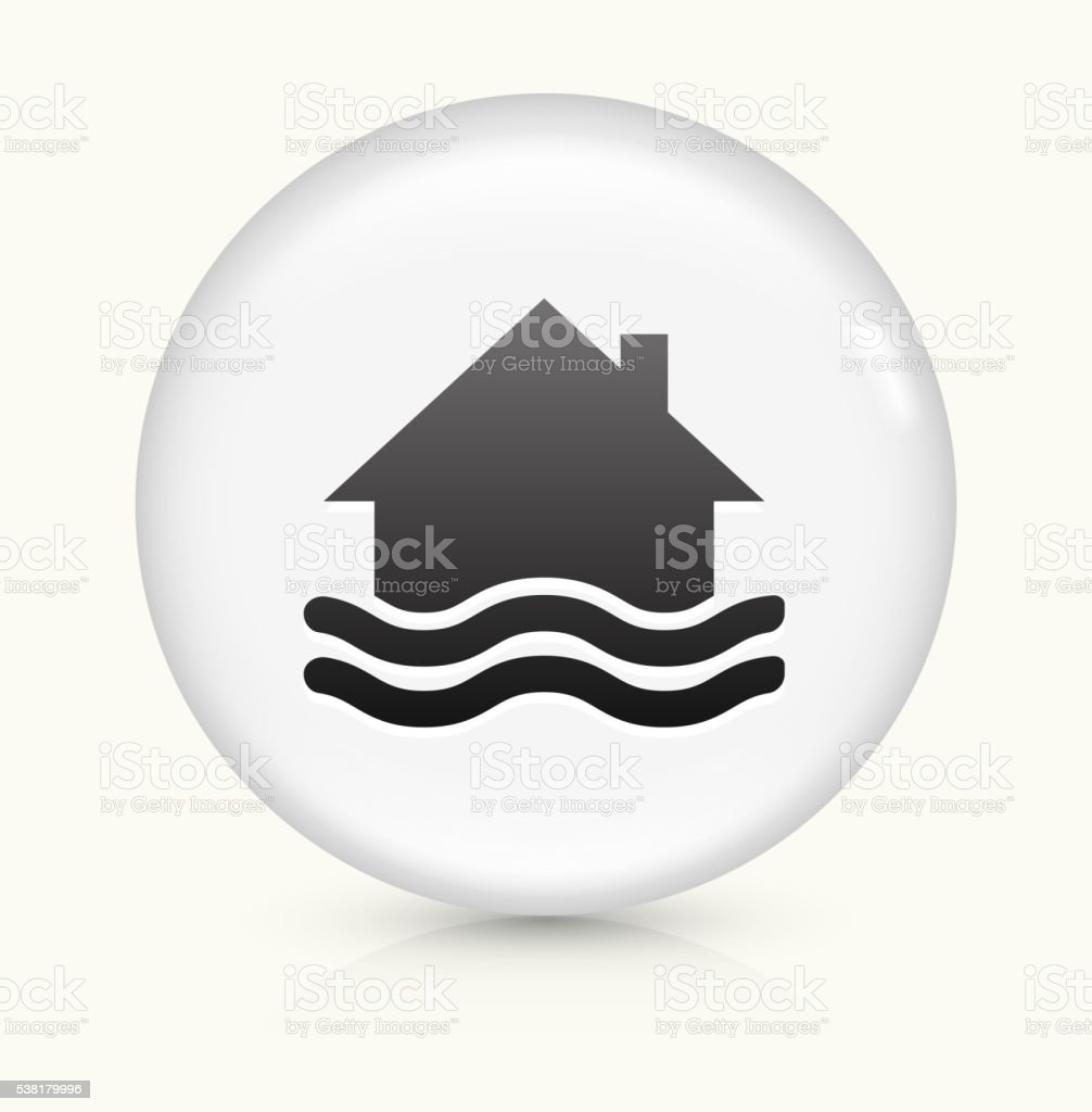 House Flooding icon on white round vector button vector art illustration