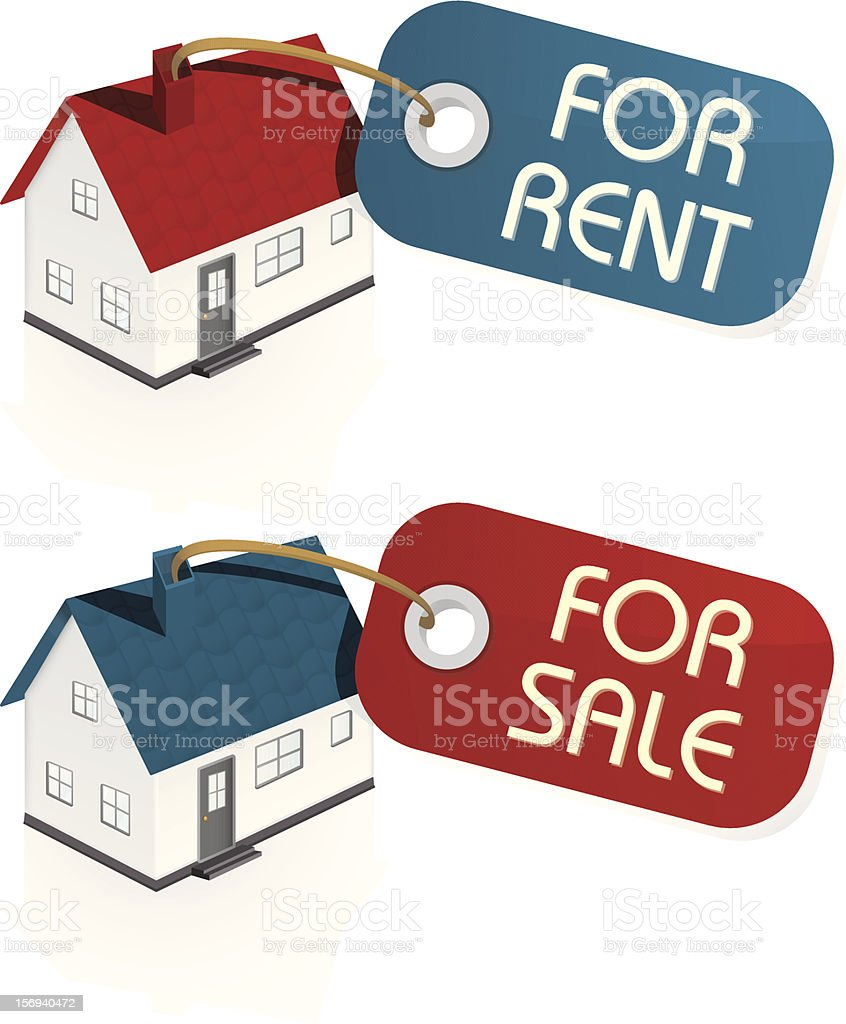 House for Sale and Rent Vector with Tags vector art illustration