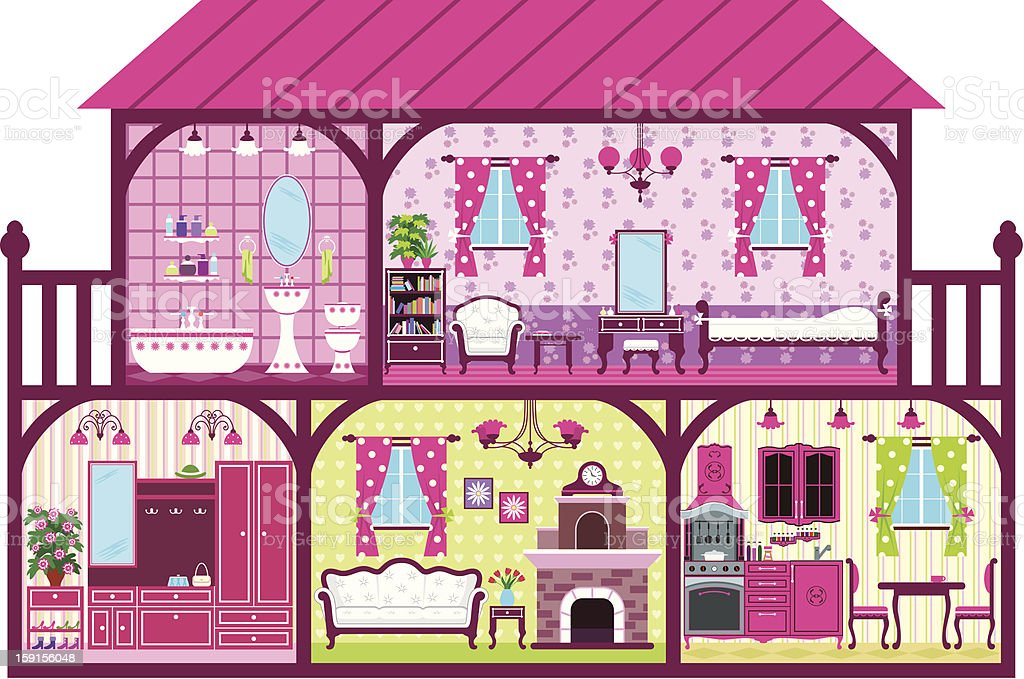 House for the girl in a cut royalty-free stock vector art
