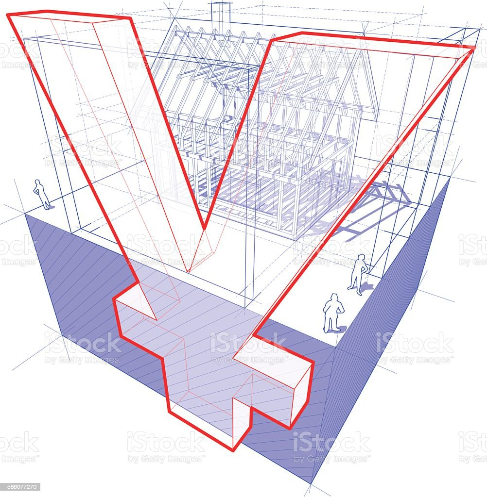 house framework with dimensions and yen sign diagram vector art illustration