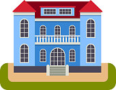 House front view vector illustration