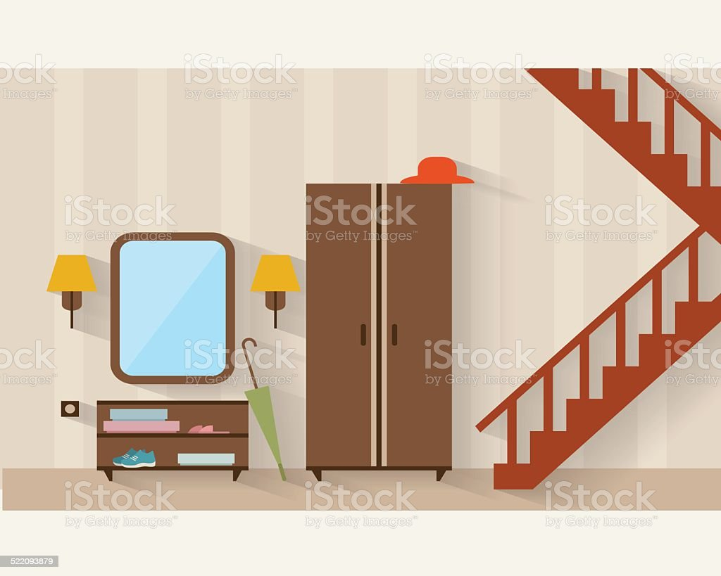 House hall flat illustration vector art illustration