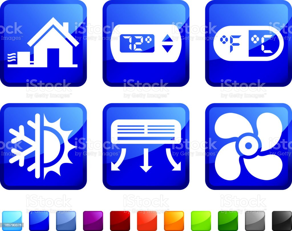 House Heating and Cooling System vector icon set stickers vector art illustration