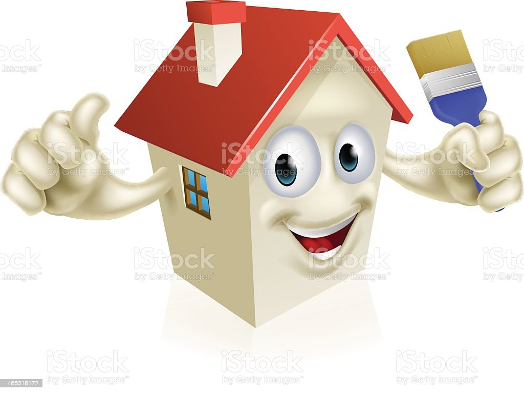 House Holding Paintbrush vector art illustration