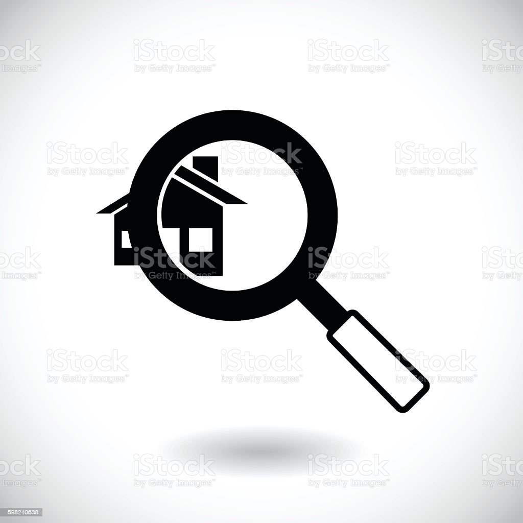 House hunting, Search house icon vector art illustration