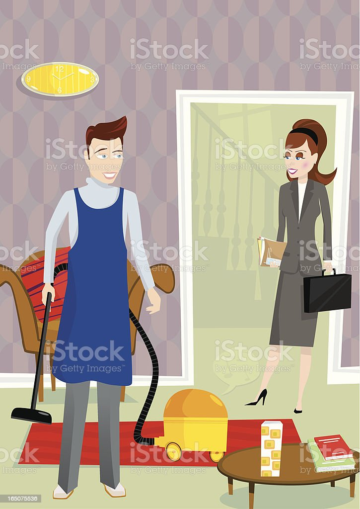 House husband cleaning home with vacuum vector art illustration