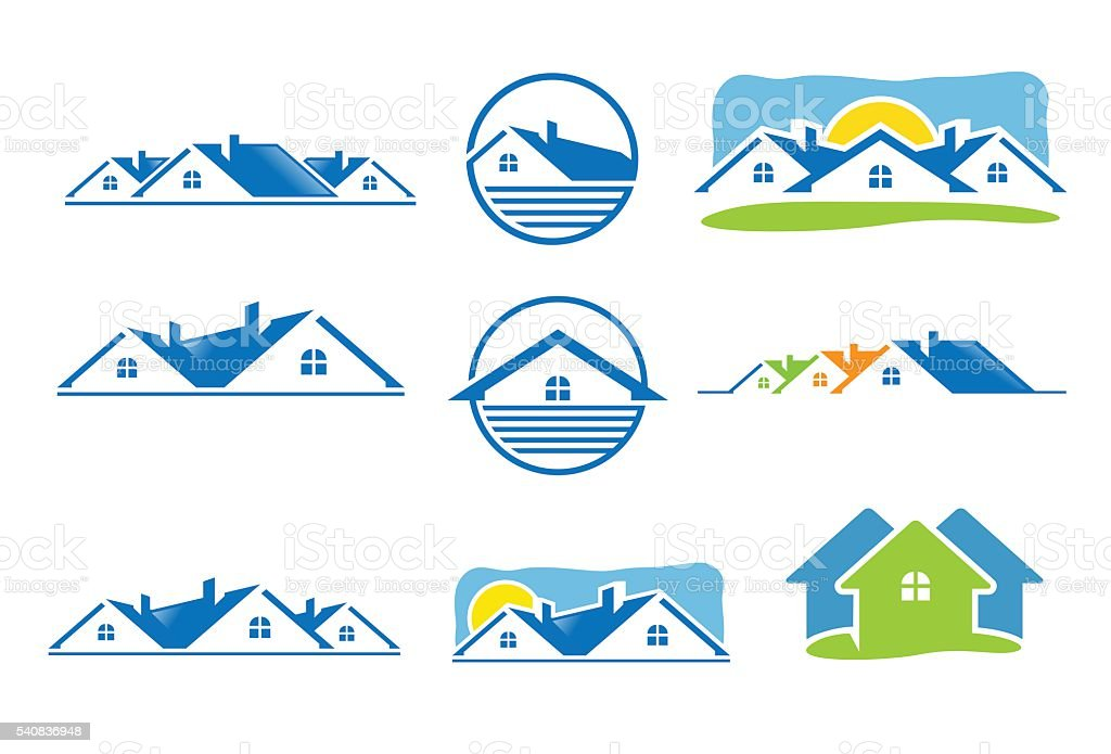 House icon and real estate logo vector art illustration