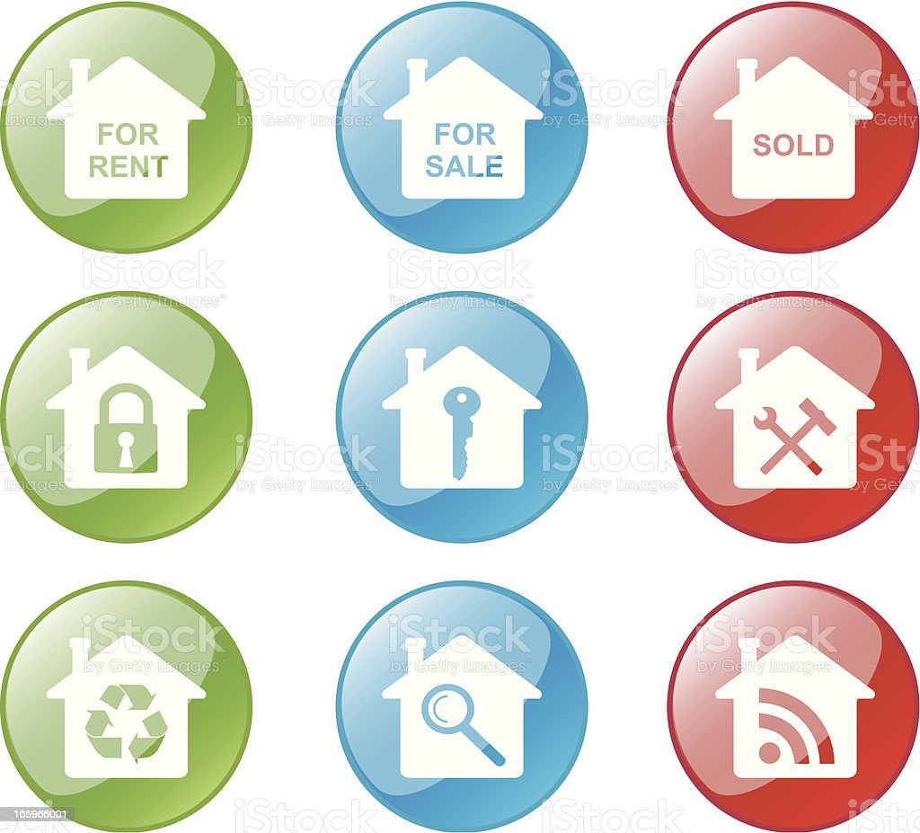 House Icon Buttons royalty-free stock vector art