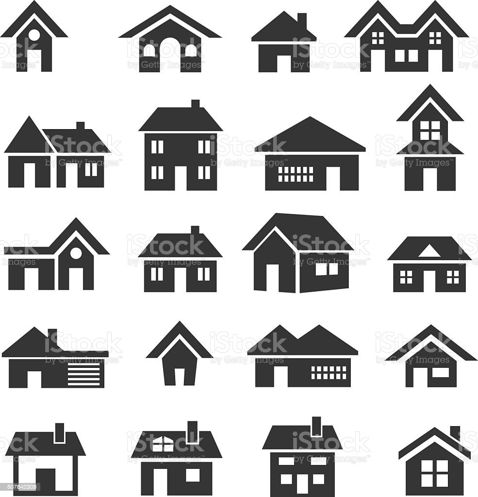 House icon set vector art illustration