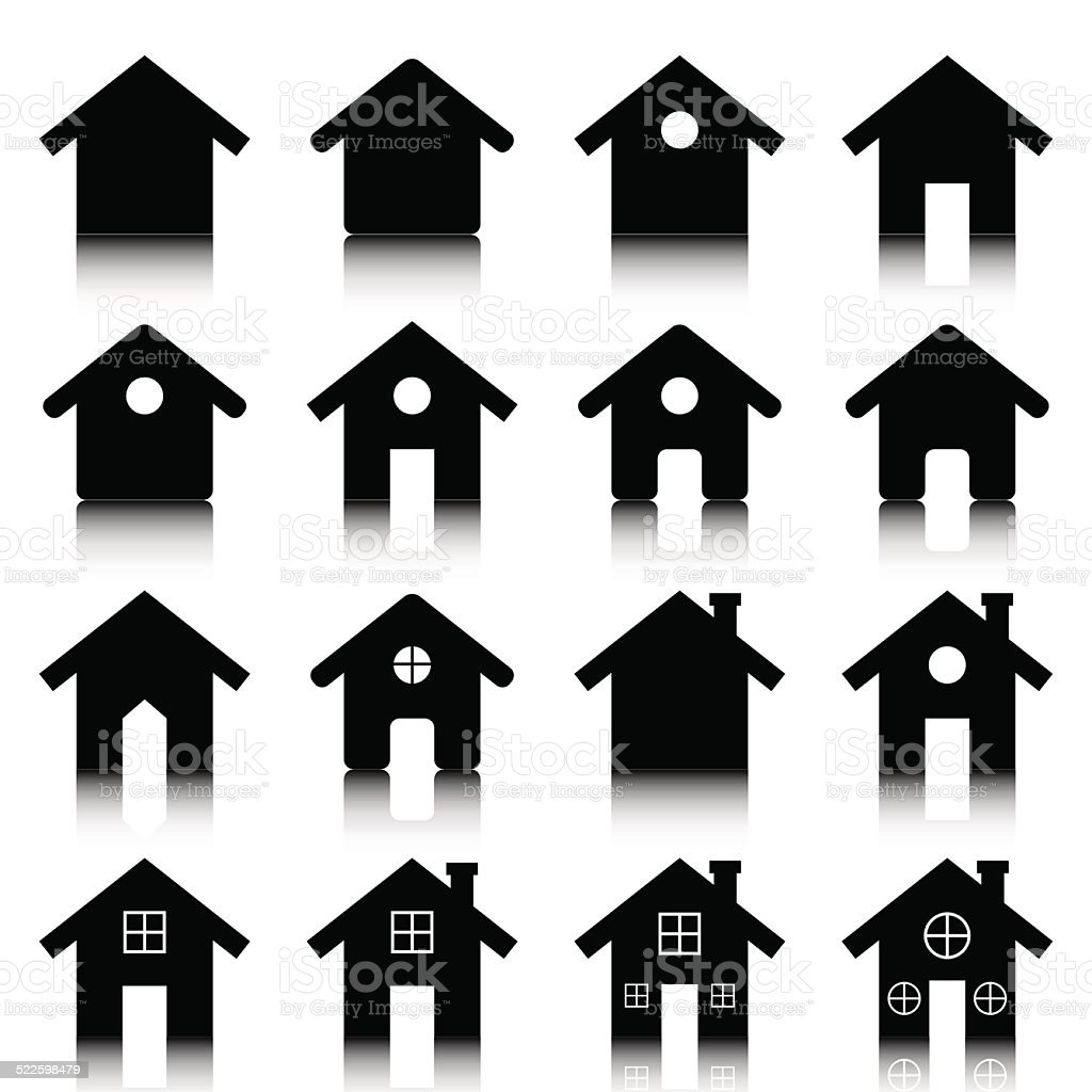 House icon set vector illustration avec reflet stock vecteur libres de droits libre de droits