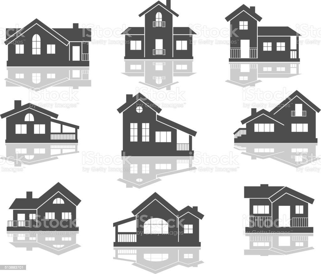 House icons set vector art illustration