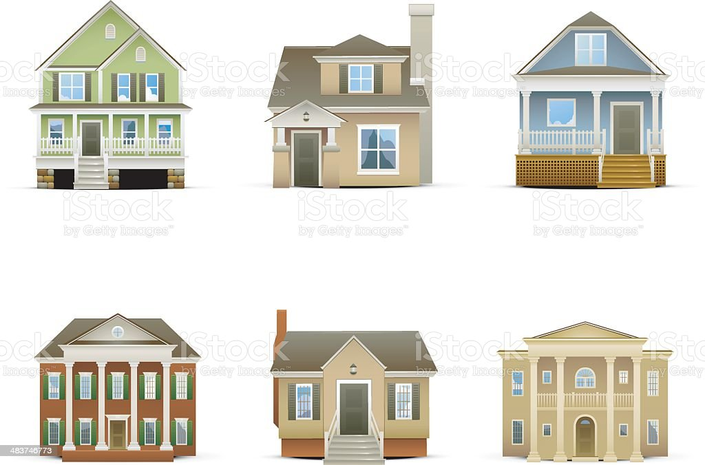 House Icons vector art illustration
