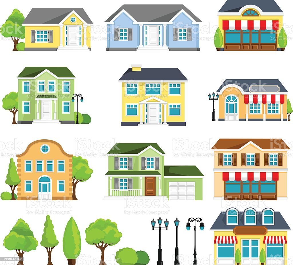 House Icons vector art illustration