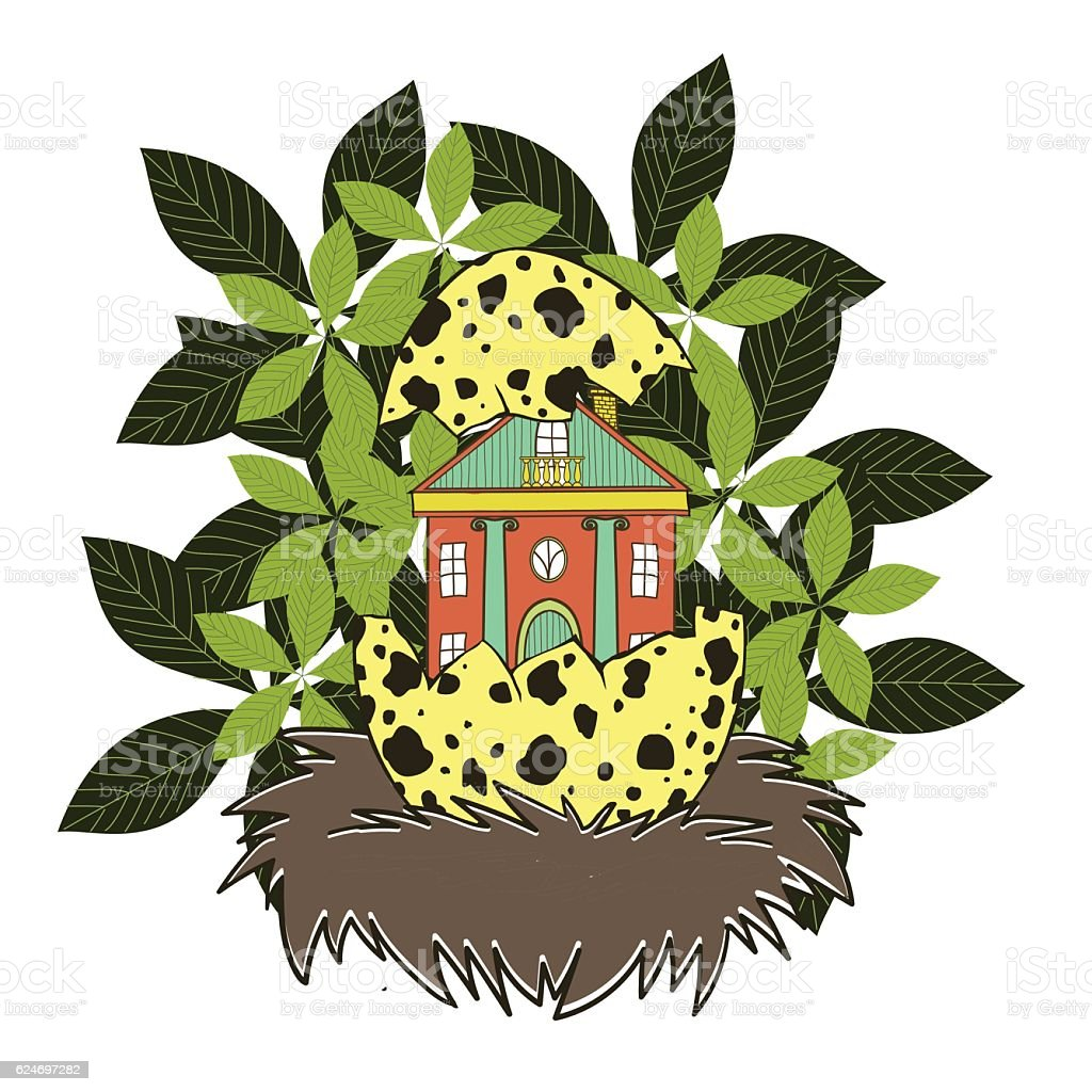 House in a bird's nest vector art illustration