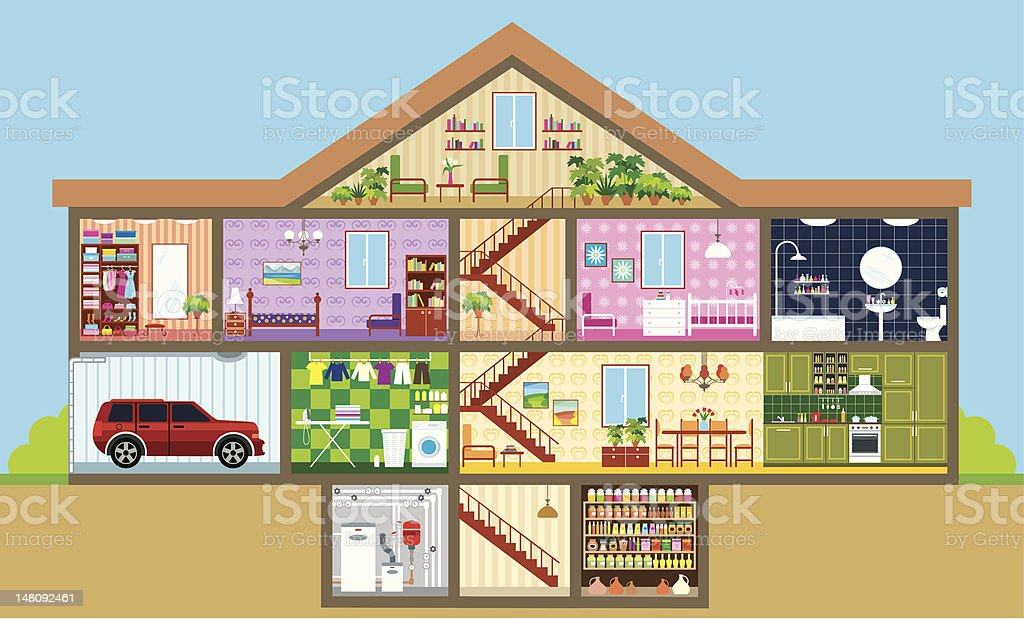 House in a cut royalty-free stock vector art