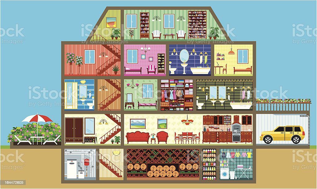 House in a cut vector art illustration