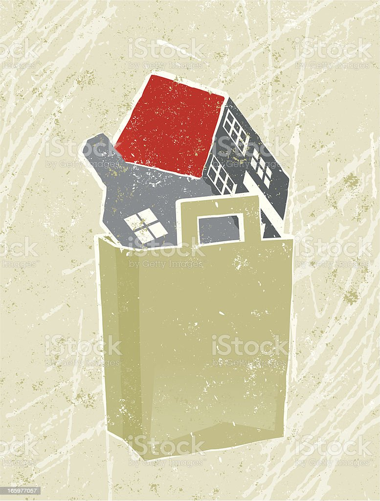 House in a Shopping Bag royalty-free stock vector art
