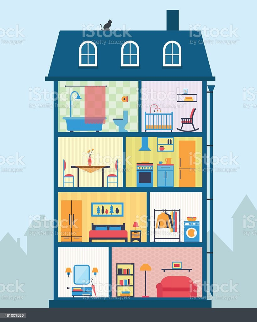 House in cut. Detailed modern house interior. vector art illustration
