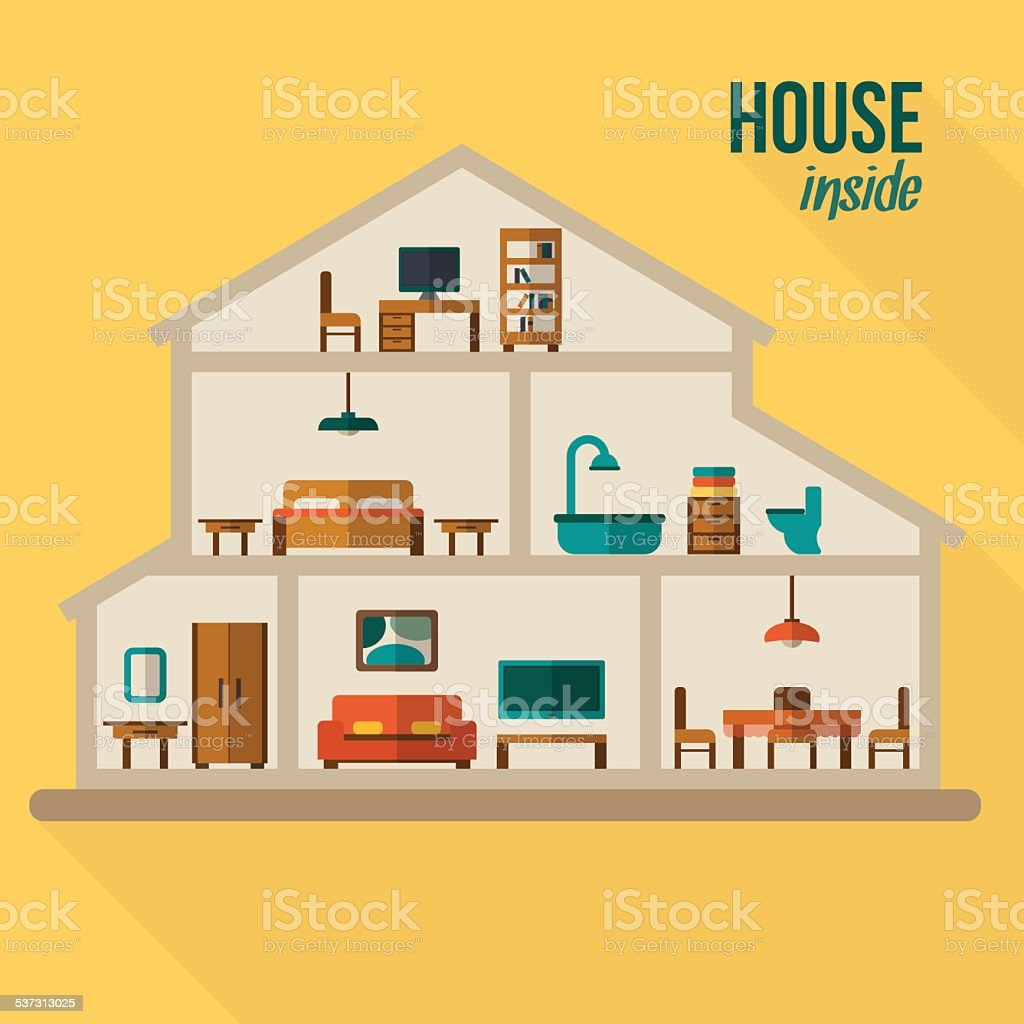 House in cut flat illustration vector art illustration