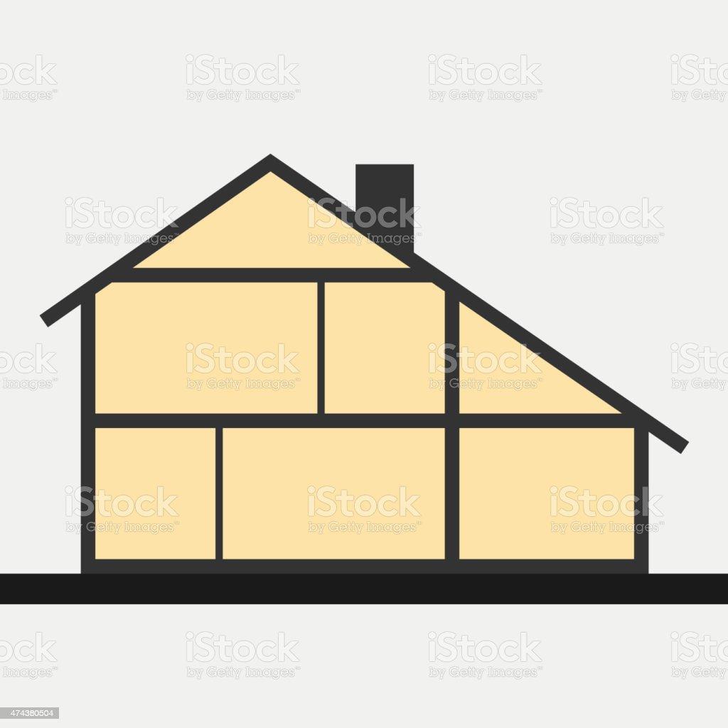 House in cut. Flat section house. Vector illustration vector art illustration