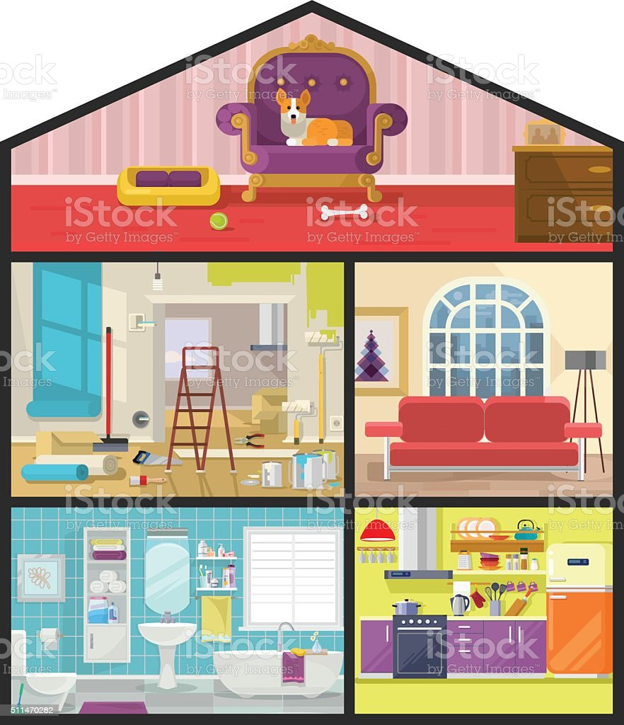 House in cut. Vector flat illustration vector art illustration