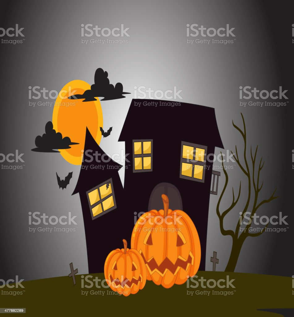 house in dark night royalty-free stock vector art