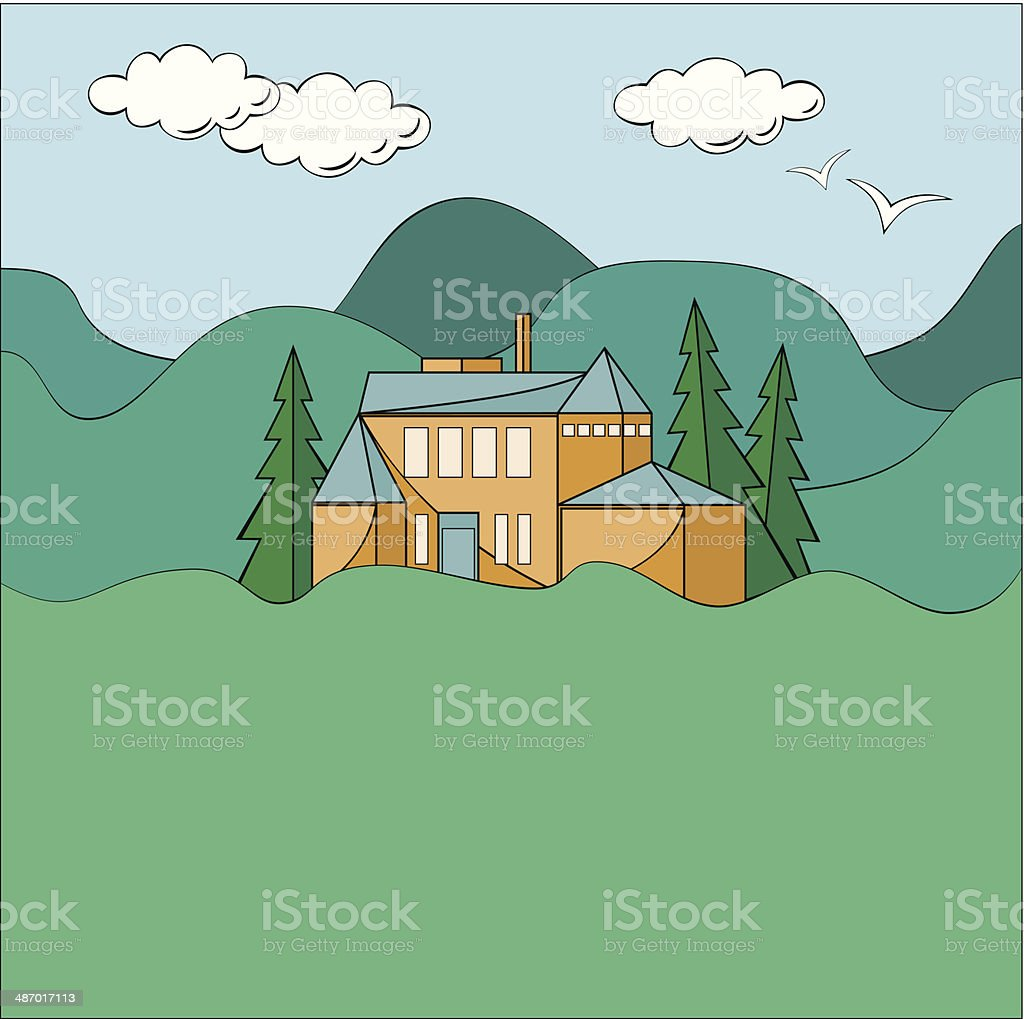 House In Mountains royalty-free stock vector art