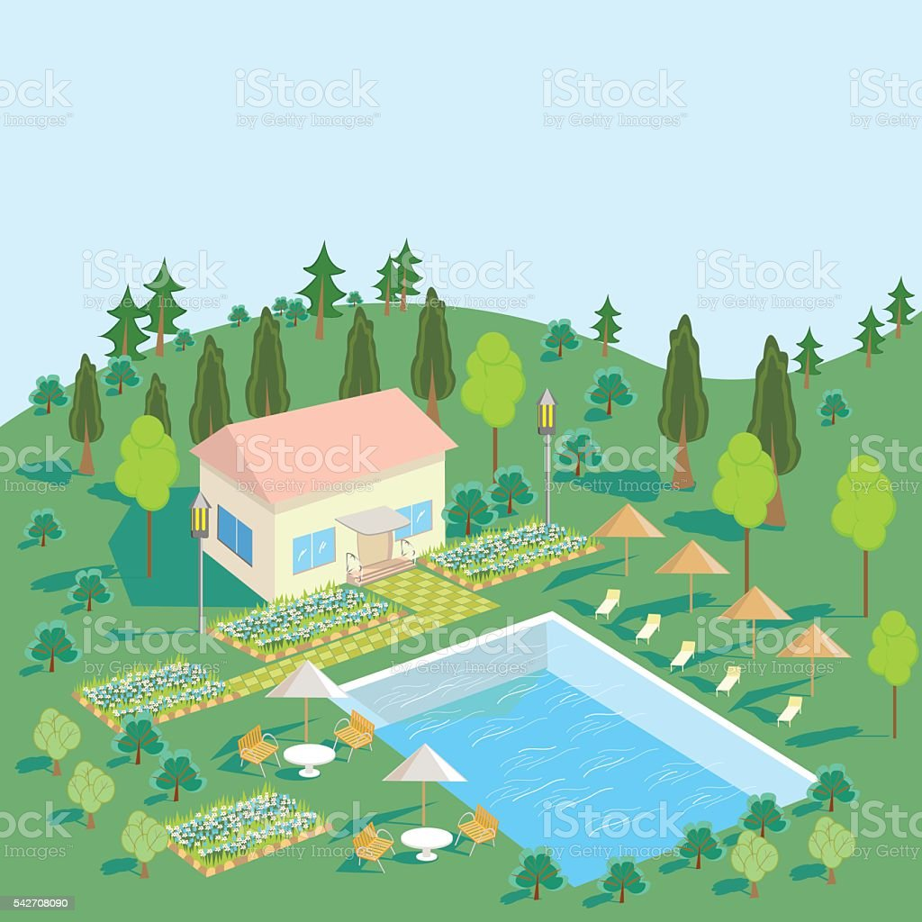 House in nature with pool, trees, Seating area royalty-free stock vector art