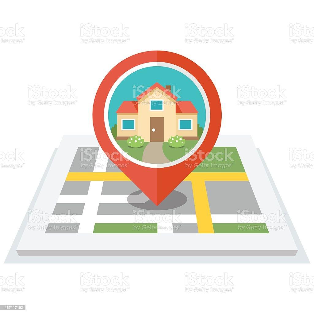 House in pin vector art illustration