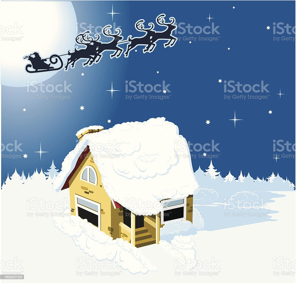 House in snow on the Christmas background royalty-free stock vector art