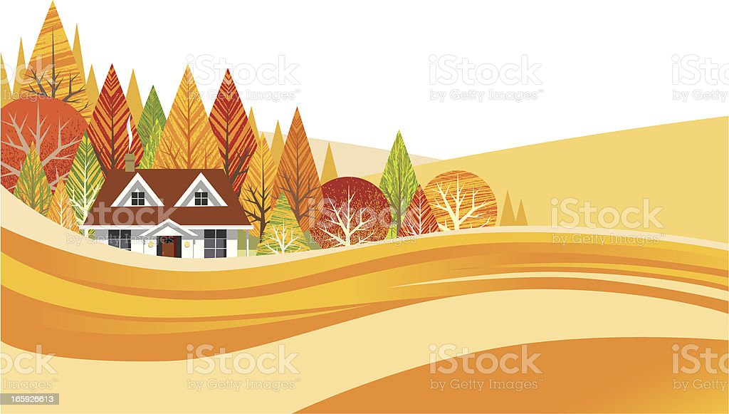 House in the Autumn Countryside royalty-free stock vector art
