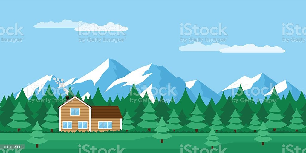 house in the forest vector art illustration
