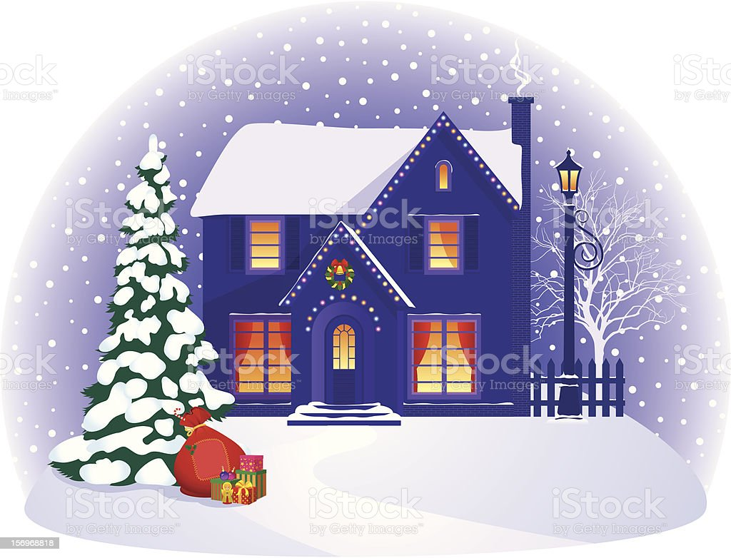 House in winter Christmas night royalty-free stock vector art