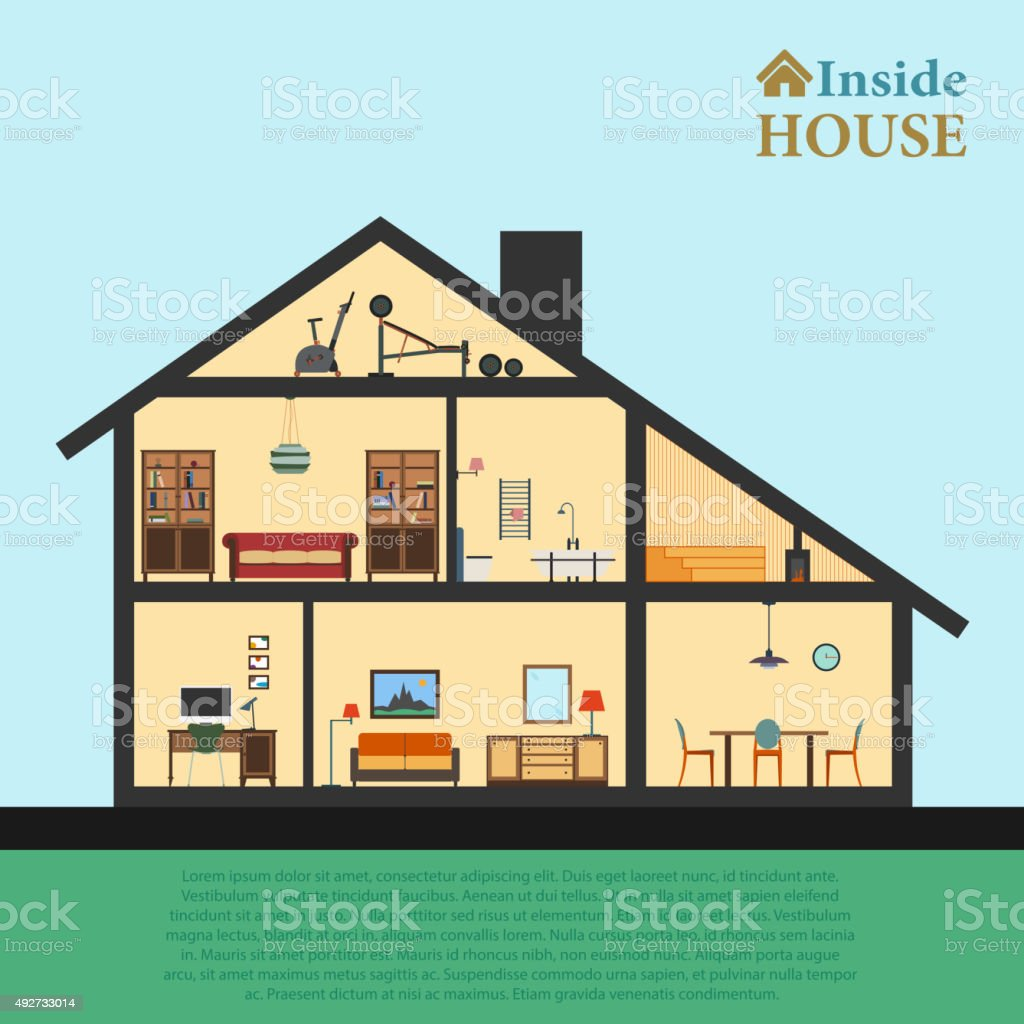 House inside. Detailed modern house interior in cut. Flat style vector art illustration