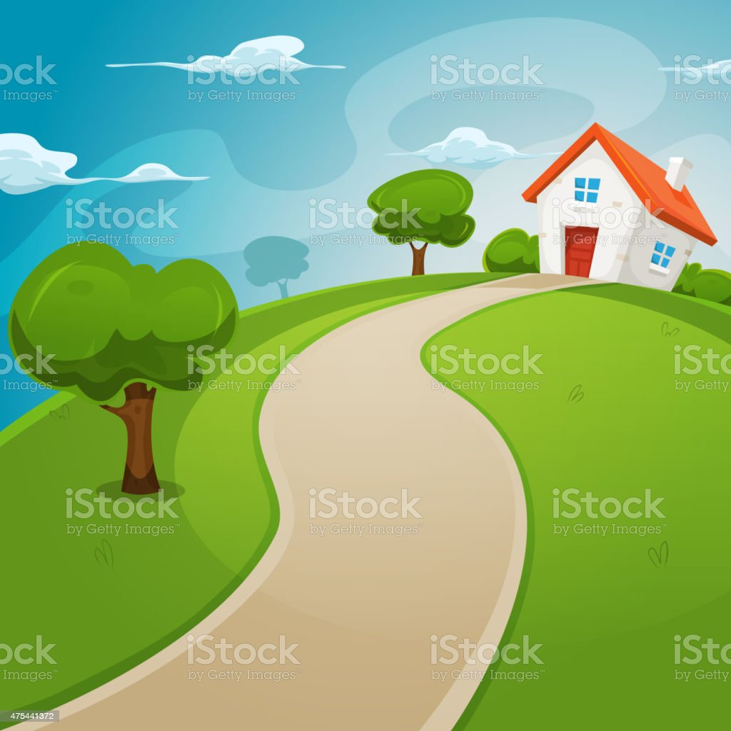House Inside Green Fields vector art illustration