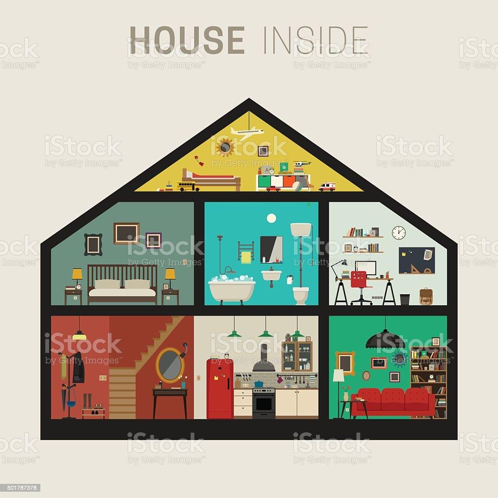 House inside interior. vector art illustration