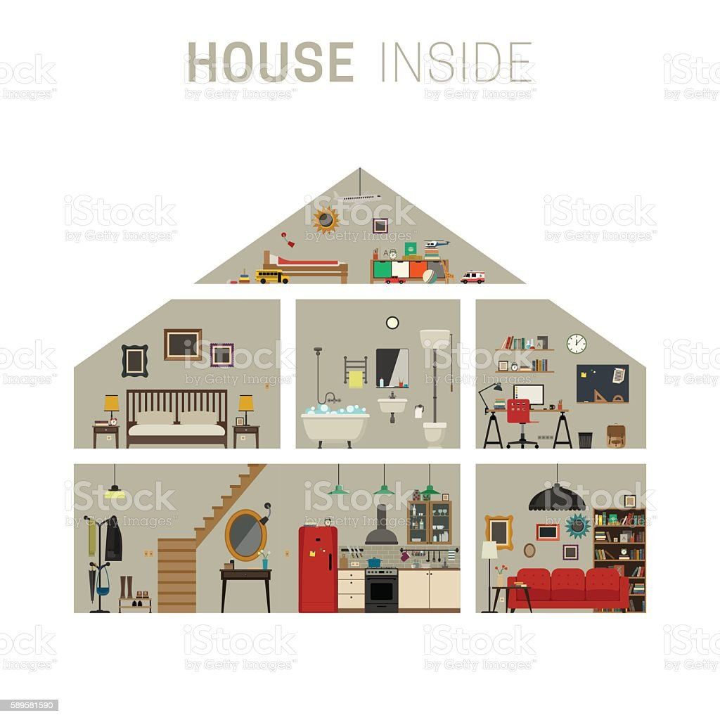 House inside interior. vector art illustration