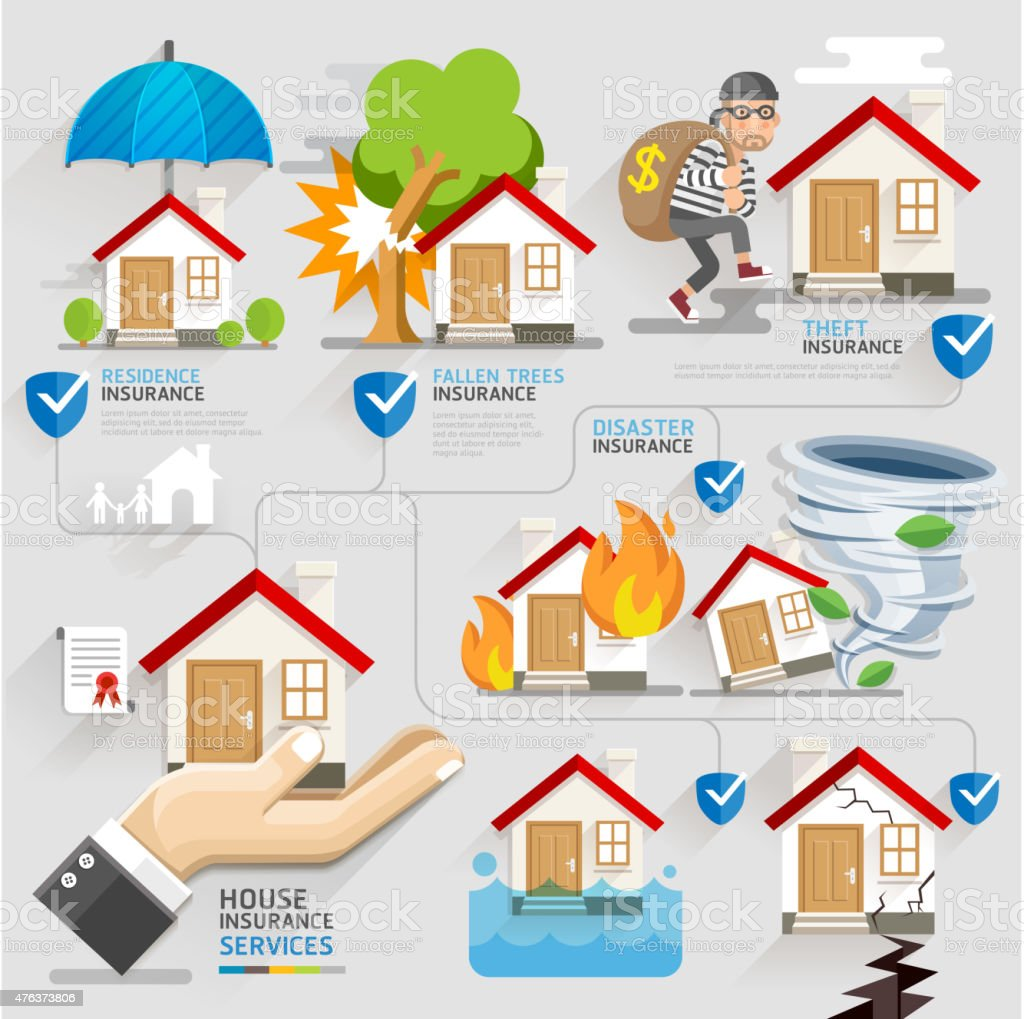 House insurance business service icons template. vector art illustration