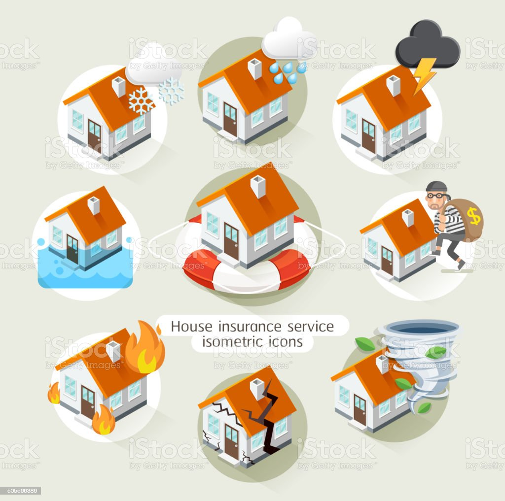House insurance business service isometric icons template. vector art illustration