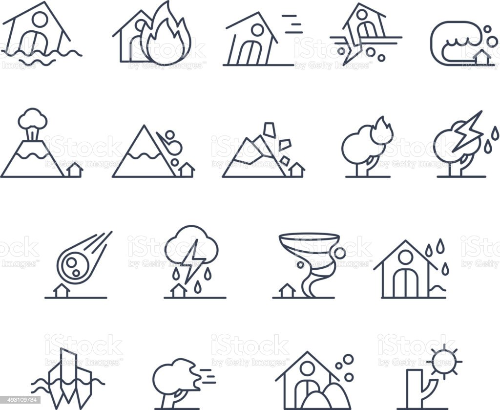 House Insurance Icon Set in Linear Style. Vector Illustration vector art illustration