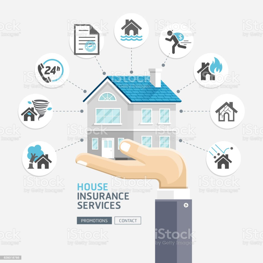 House insurance services. Business hands holding house. vector art illustration