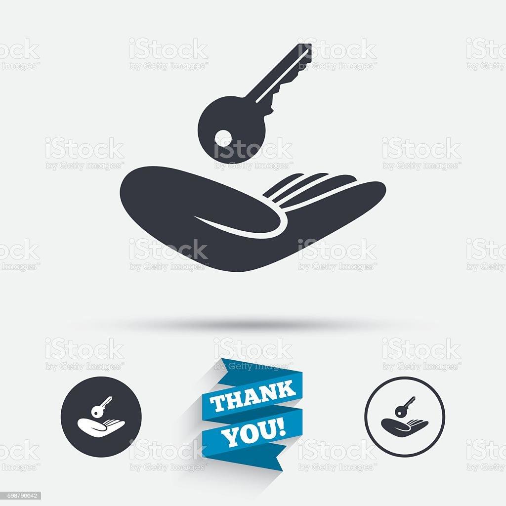 House insurance sign. Hand holds home key symbol vector art illustration
